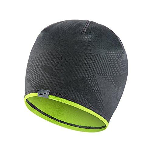 2015 Nike Reversible Knit Cap Mens Golf Beanie Hat Dark Grey/Volt (Nike Cap Reversible)
