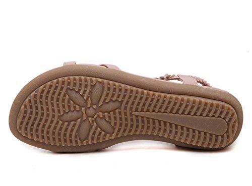 Sommer Offene Zehen Blumenpattern Kreuzband Rückband Damen Slip On Flach Lässige Sandalen Pink