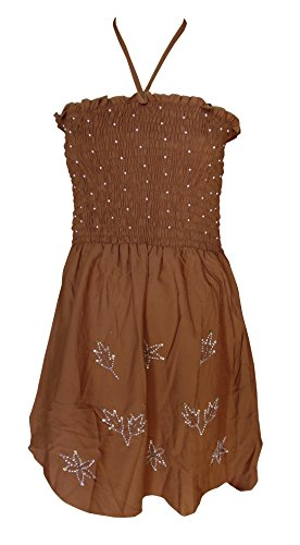 Sunrose Bead moti worked brown partywear backless tube dress tunic