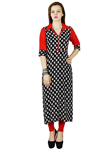 Bimba Women Black Red custom Kurta Kurti rayonne short Sleeve Summer Tunic Long Top Blouse Indian Clothing Noir et rouge
