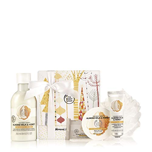 The Body Shop Festliches Geschenk Set Almond Milk & Honey Duschcreme, Seife, Body Butter und Handcreme - Honig Body Butter