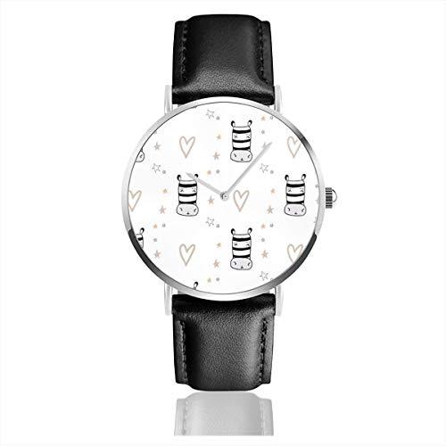 Herren-Armbanduhr, ultradünn, modisch, minimalistisch, Farbe Braun, Zebra-Steine, Herzen, skandinavisch, perfekte Bekleidung, wasserdicht, Quarzuhrwerk, Casual