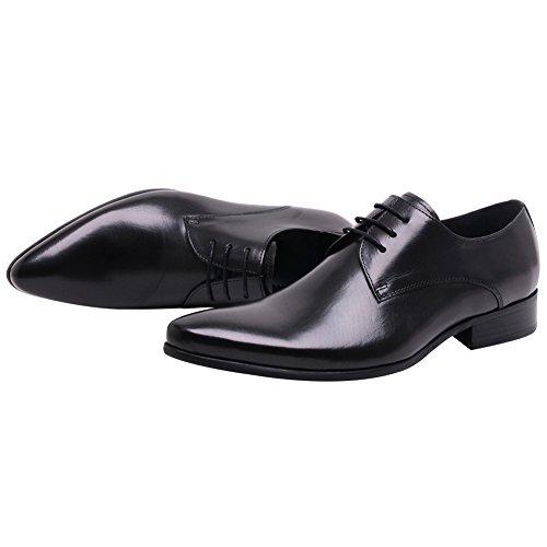 Jamron Hommes Haut de Gamme Douane Derby Dentelles Cuir Véritable Pointé Formel Chaussures Oxford dAffaires Noir