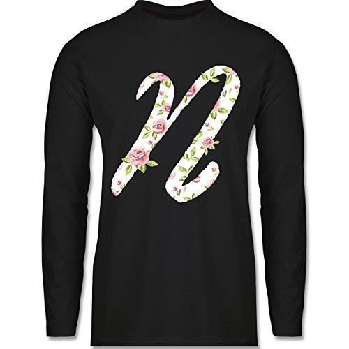 Anfangsbuchstaben - N Rosen - Longsleeve / langärmeliges T-Shirt für Herren Schwarz