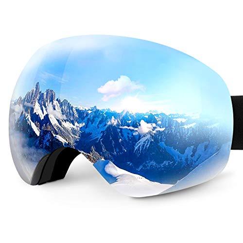 Karvipark Skibrille, Ski Snowboard Brille Brillenträger Schibrille Verspiegelt, Doppel-Objektiv OTG UV-Schutz Anti Fog Snowboardbrille Damen Herren Kinder für Skifahren Snowboard (Silber VLT11{73fdaebf451a3126a66e9a5b352086ca89d93102afaa2a19ede3808860221ec4})