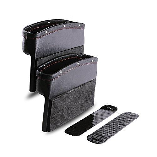PowerTiger Auto Sitz Seitentasche Schlitz Tasche Aufbewahrungsbox, Auto Organizer mit PU Leder Geeignet für die meisten Auto, Schwarz, 2 Stück