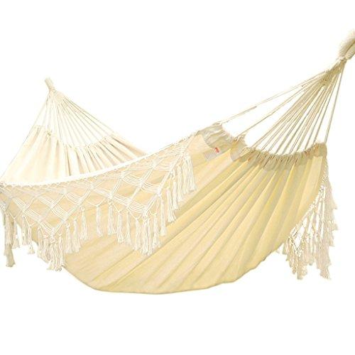 Hamac extérieur hamac intérieur enfants adultes balançoire double maison coton swing (Color : Blanc, Size : 200 * 90 cm)