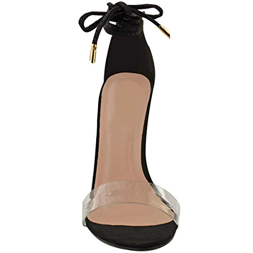Scarpe Donna Barely There Perspex Trasparente Alla caviglia Sandali Con Cinturino misura UK Nera Pelle Scamosciata