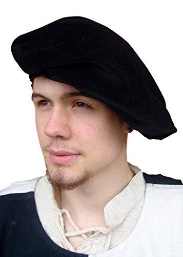 Mittelalterliches Barett aus Samt, schwarz - LARP - - Vater Kostüm