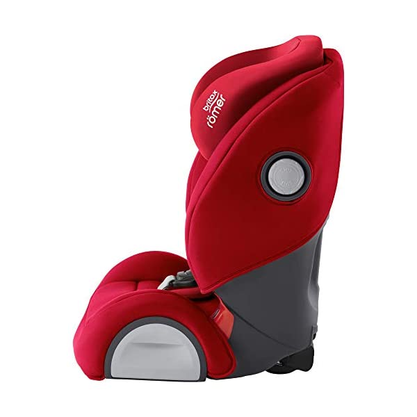 Britax Römer EVOLVA 1-2-3 SL SICT Group 1-2-3 (9-36kg) Car Seat - Fire Red  Installation, ISOFIX and a 3-point seat belt, or 3-point seat belt only Enhanced Side Impact Protection (SICT) minimises the force of an impact in a side collision CLICK & SAFE audible harness system for that extra reassurance when securing your child in the seat 2