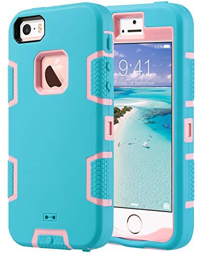 ULAK Schutzhülle für iPhone SE / 5S / 5, Knox Armor robust, stoßfest, stoßfest, stoßfest, stoßfest, staubdicht, korallenblau