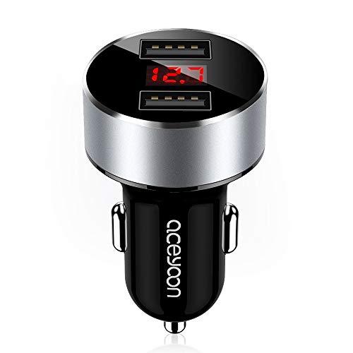 aceyoon Voltmeter Zigarettenanzünder KFZ mit LED Spannunganzeige 5V / 3.1A Mini USB Auto Schnellladegerät Adapter Steckdose 12V/24V mit 2 USB Port Ladestecker Aufladen für Galaxy Powerbank MEHRWEG (Gps 12v Batterie)