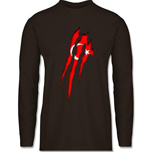 Länder - Türkei Krallenspuren - Longsleeve / langärmeliges T-Shirt für Herren Braun