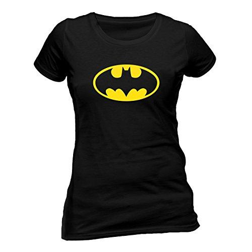 (Batman Logo Skinny Fitted Damen T-Shirt Offizielles Lizenzprodukt|schwarz-M)