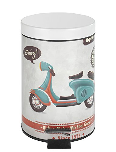 Wenko 21606100 Vintage Scooter Contenitore a pedale, 3 litri