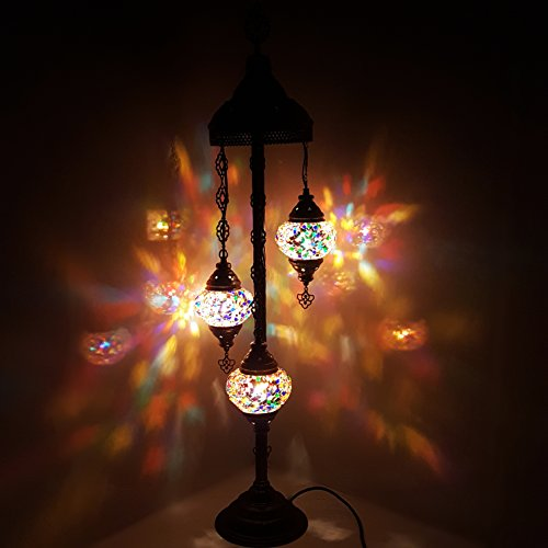 Turkish Moroccan Tiffany Style Glass Mosaic Floor Lamp Night Light - MC15 X 3 Bulb Floor Lamp