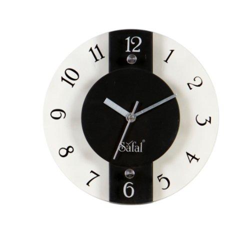 Safal Wooden Wall Clock (20.32 cm x 20.32 cm, Brown, SQ 3539)