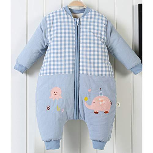 Wolaoma Baumwolle Baby Schlafsack Baby Winter dicken Schlafsack Anti-Kick-Schlafsack (Farbe : Blau, größe : M)