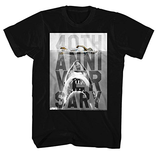 Jaws - Herren 40Th-T-Shirt Black