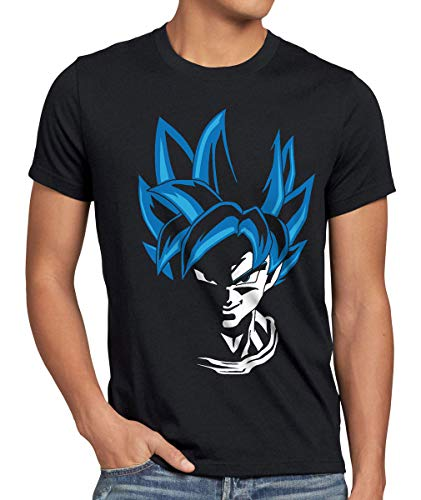 style3 Super Goku Blue God Modo Camiseta para hombre T-Shirt, Talla:L;Color:Nero