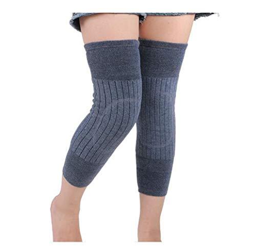 Ericotry Unisex Erwachsene Kaschmir-Wolle Kniebandage Winter, warm, Thermo-Beinwärmer, Kompressions-Ärmel für Damen und Herren, Dunkelgrau