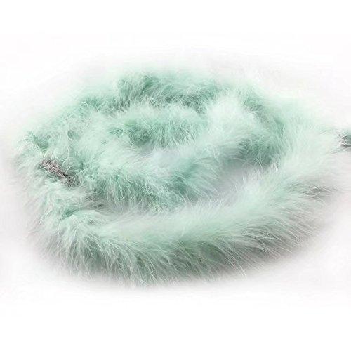 1 Stück gefärbte flauschige Federboa mit 182,9 cm Länge von Celine Lin mit Truthahn-/Marabu-Federn für Party, als Kostüm, als Schal, zur Hochzeit, als Raumdekoration. Light mint green (Kostüm-verzierungen)