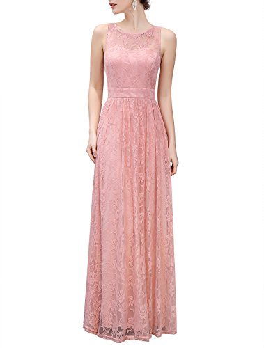 Wedtrend Frauen Lace lange Brautjungfer Kleid Party Kleid Cocktailkleid Rosa