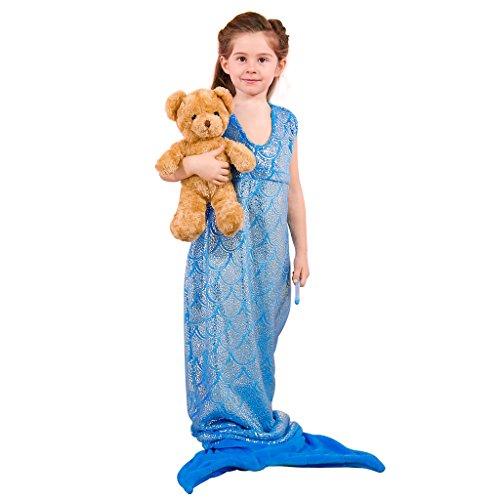 Langria sirena coda coperta soffice di figura completa, con reggiseno a triangolo per tutte le stagioni, dormire come sirenetta brillante, coperta per divano letto, blu, 54 x 145 cm
