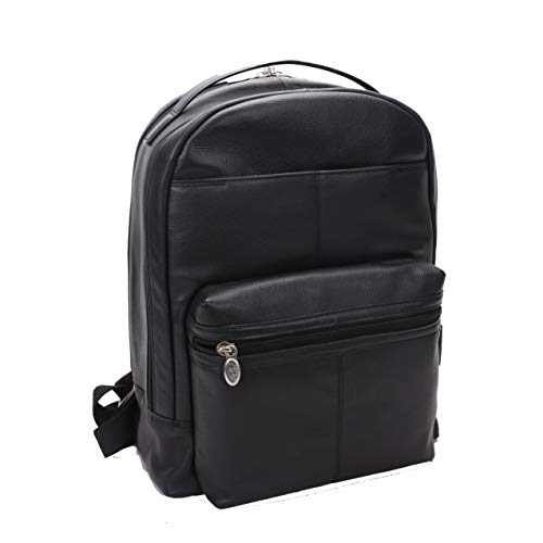 Dual Compartment Laptop Backpack, Leather, Mid-Size, Black - Parker   Mcklein - 88555
