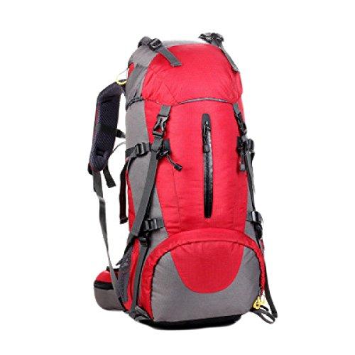 50L Im Freien Bergsteigen Taschen Zelttasche Männer Wandern Und Frauen Mit Großer Kapazität Rucksack Regen Abdeckung,Black Red