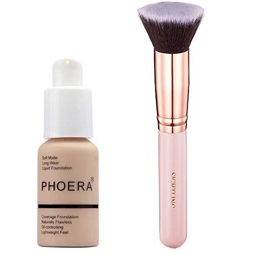 PHOERA 30ml Concealer Cover, Flüssigmatt Full Coverage Concealer Shadows Skin Care Cover Foundation Nude mit Make-Up Pinsel Kabuki Schminkpinsel Kosmetikpinsel Foundation Pinsel -
