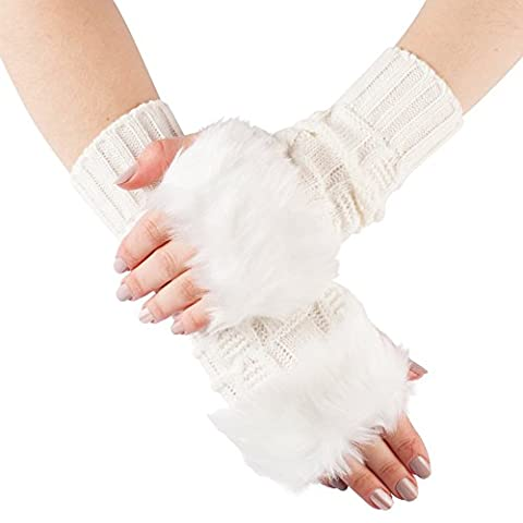 GLV124-White Warm Cable Knit Winter Fingerless Gloves arm warmers with Faux Fur Trim