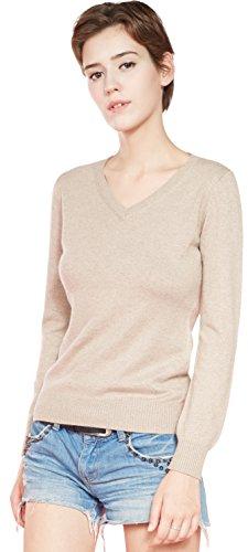 LongMing 100% Kaschmir Pullover for Damen Winter Warm Lange Ärmel V-Ausschnitt Slim Swaeter (M / EU Size 40-42, Kamel) (Damen V-ausschnitt Kaschmir-pullover)