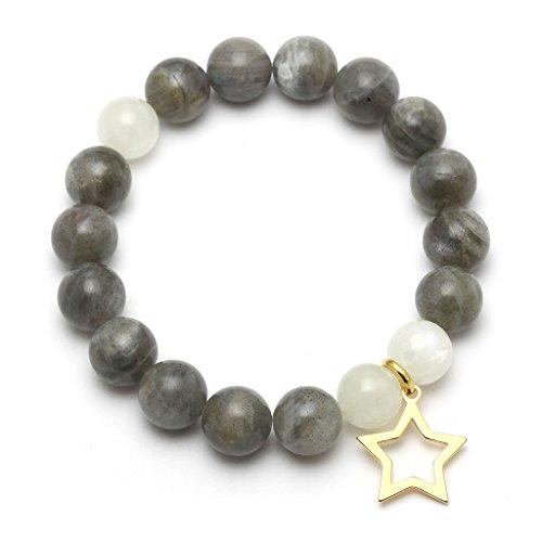 Mystic Silver - Bracciale Braccialetto Donna argento sterling 925 con naturele Labradorite, naturele Pietra di luna - Lunghezza: 18cm,