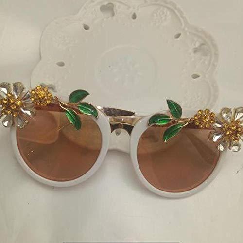 Lywljg Weibliche Sonnenbrillen färbten Blumen diamantbesetzte Brille Sonnencreme dünne Gesicht Foto Sonnenbrille