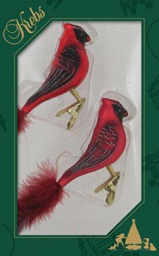 Krebs Glas Lauscha Glasvogel Kardinal auf Clip 15 cm