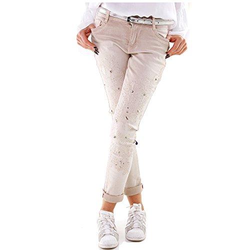 Damen Jeans Hose Pants Röhrenjeans Hüftjeans Boyfriend Chino Baggy Flowers Strass Partyjeans XS-XL Beige