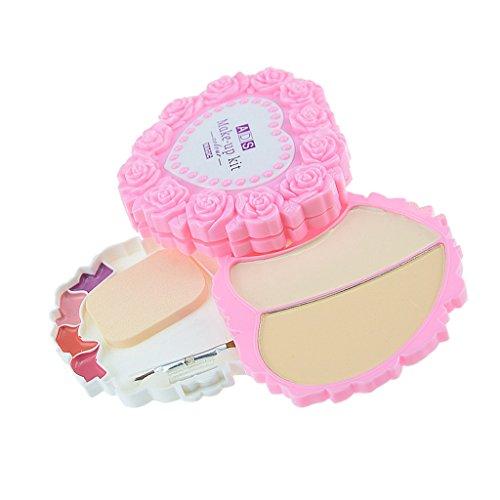 MagiDeal Kit Maquillage de Beauté Ombre à Paupières Poudre Blush Gloss à Lèvres Palette avec Houpette Pinceau de Maquillage
