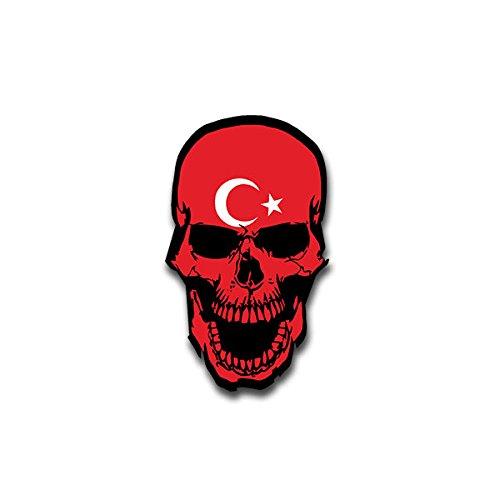 Aufkleber / Sticker - Skull Türkei Schädel Knochen Totenkopf Vorderasien Südosteuropa Ankara Flagge Fahne passend für VW Golf Polo GTI BMW 3er Mercedes Audi Opel Ford (7x4cm)#A1492