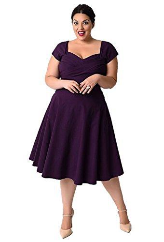 Oriention 50er Retro Audrey Hepburn Schwingen Pinup Polka Dots Rockabilly Damen Vintage-Kleid Plus Size  50 (4XL),   Violett
