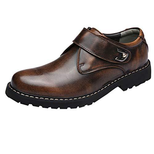 DAY.LIN Homme Liquidation Mode Rétro Couleur Pure à Talons Plats et Chaussures à Talons Rondes Cuir Bottes(43,Marron)