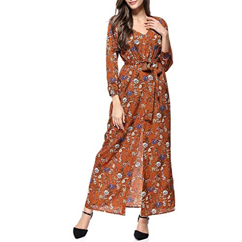 WUDUBE Damenmode Langarm Kleid Reizvolles Maxikleid Mit Slit, V-Ausschnitt Blumendruck Langes Hülsen Kleid