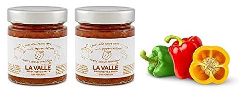2x 190gr Handwerklich hergestellte Tomatensoße mit frischer Paprika und Olivenöl extra vergine für Pasta oder