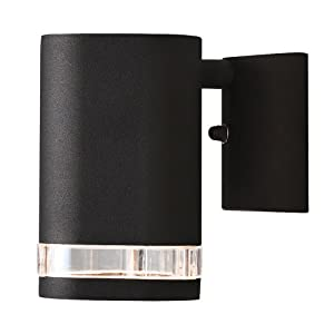 Konstsmide 7511-750 Modena Single Up Down Outdoor Wall Light / 1 x 35 W GU10 Max Wall Lamp / Clear Acrylic Lens / Aluminium / IP44 / Matt Black Outside Light
