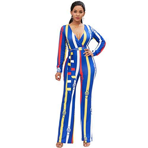 Belted Jeans Spandex (Damen Sexy Jumpsuit Print V-Ausschnitt Overall Langarm Belted Wide Leg Playsuit Strampler Blue Style Geeignet für Holiday Party Karneval Kostüme, Blue_B-L)