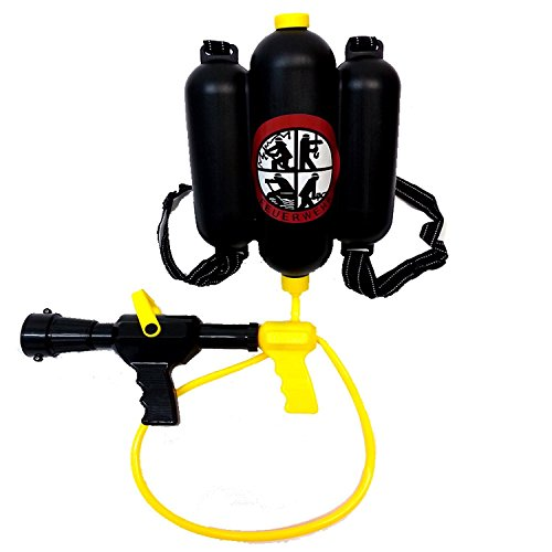 Brigamo 18318 - Deutsche Feuerwehr Spritze Wasserpistole mit Tank Rucksack, schwarz (Ghostbusters Kostüme Ideen)