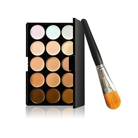 songqee Make 15Farben Contour Face Creme Makeup Concealer Palette + Foundation-Pinsel (Olive Creme Foundation)