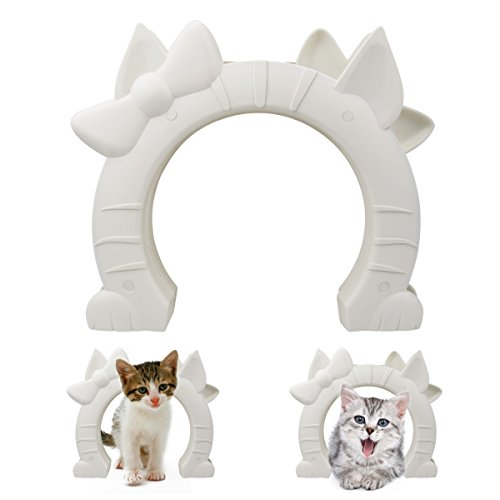 Color You Built in Cat Door Fits Interior Hollow Core or Solid Wood Doors for Medium and Large Cats, 7.4x6.7''