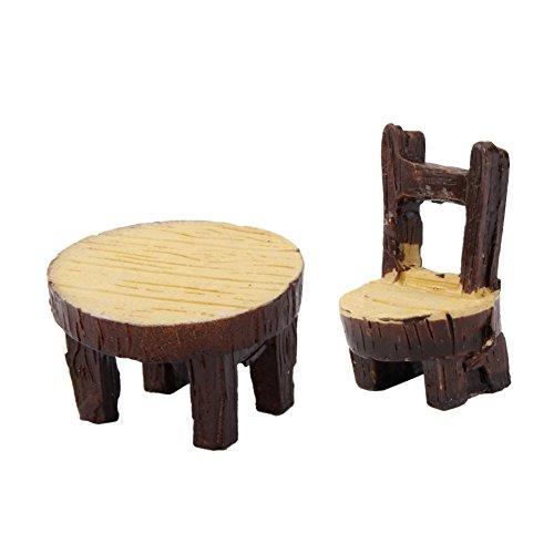 Milopon Micro Landschaft Deko Miniatur Gartentabelle / Sessel aus Holz für Puppenhaus Puppenhausmöbel Gartenmöbel Deko Garten 2pcs