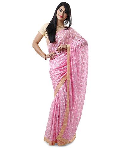 Pink Tone to Tone Phulkari Saree with Free Blouse